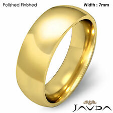 14k Gold Yellow 7mm Men Plain Comfort Dome Wedding Band Solid Ring 11.7g 12-12.7