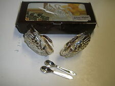 ITALIAN SALT & PEPPER SWAN SHAPED WITH STERLING SILVER TINY SPOONS NEW