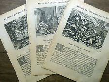 LOT 3 GRAVURES 18e s. Figure Ancien Testament : SAMSON Bible Sacy MERIAN 1770