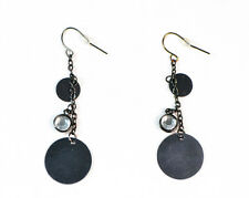 AZTEC INSPIRED GUN METAL EARRINGS WITH CLEAR RHINESTONE DARK MYSTERIOUS(ZX8)