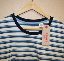 NEW! Mens LEVI's Basic Blue Striped Red Tab Logo Crewneck T-Shirt Large