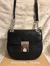 NWT MICHAEL KORS CECELIA LEATHER MINI SADDLE CROSSBODY BAG IN BLACK (SALE!!)