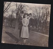 Antique Vintage Photograph Woman with Two Men Wearing Cool Outfits Crazy Hats