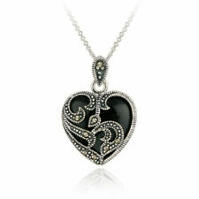 Silver Plated Marcasite & Black Heart Necklace Fashion Gift Box  NEW