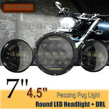 "7'' CREE LED Jeep Headlight Projector Lamp 2x 4.5"" Auxiliary Passing Fog Lights"