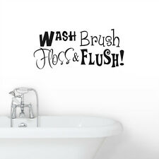 WASH Brush Floss Flash Art Vinyl Wall Sticker Bathroom Decoration Quote Decal