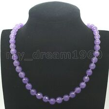 AAA Handmade Jewelry 8MM Facet Lavender Jade Gems Beaded Knot Necklace 18""