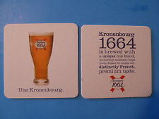 Beer Breweriana Coaster: KRONENBOURG 1664 ~ Hops from Alsace...Distinctly French