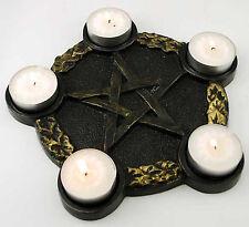 Pentacle Pentagram Tealight Candle Holder Black Gold Altar Plate Five Resin