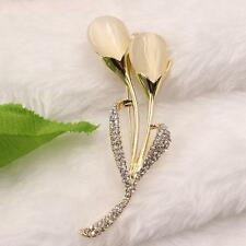 cat eye opal Flower brooch pin girl lady's jewelry accessories gold plated UA