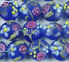 Lampwork Glass Indigo Rose Lentil Beads 14mm