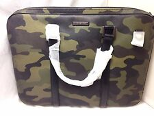 $795 Michael Kors Mens PVC LEATHER Messenger school Work SLIM Briefcase BAG CAMO