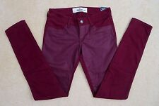 NWT Hollister Womens Skinny Jeans Jeggings Size 0 Coated Burgundy