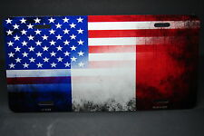 FRENCH AMERICAN FLAG METAL ALUMINUM CAR LICENSE PLATE TAG