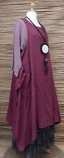 LAGENLOOK  OVERSIZED  LINEN BEAUTIFUL 2 PCS DRESS+OVERTOP*MAROON* BUST UP TO 50""