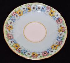 Aynsley Bone China, England, B5130/1 Aqua or Blue w/Flowers Saucer