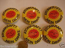 6 Stück: Atomkraft ? Nein Danke ! Button Sticker Pins 37 mm Retro Tschernobyl ?