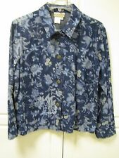 COLDWATER CREEK BLUE FLORAL DENIM LONG SLEEVE SHIRT JACKET SIZE SMALL