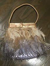 FURLA Ombre Feathered Evening Handbag, Peach to Lavender, with duster bag