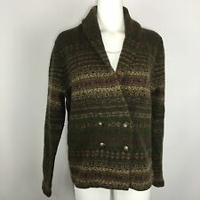 Ralph Lauren Lambswool Sweater XL Fair Isle Green Purple Carigan Cardi Wool