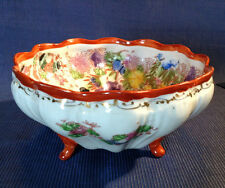 Nippon Kutani  Footed Nut Bowl -  Hand Painted Geisha With Gilding - SIgned