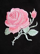 """3-1/4"""" Pink Rose Flower Embroidery Iron On Applique Patch"""