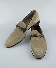 New BRIONI Brown Suede Leather W/ Crocodile Trimmings Loafers Dress Shoes 11/44
