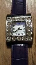 PU Purple Violet Ladies Square Face wrist Watch Clear Shiny glass Crystals