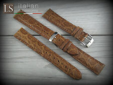 Cinturino in Pelle LS COCCODRILLO Bombato Opaco 18 mm Watch Strap Band Cognac