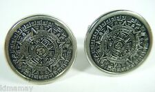 VTG 70'S SILVER TONE AZTEC CALENDAR CUFFLINKS NEW OLD STORE STOCK NEVER USED