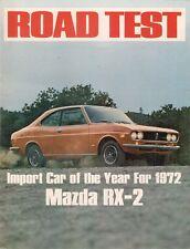 """Mazda RX-2 """"import voiture de l'année"""" essai routier 1972 marché du royaume-uni dépliant brochure"""