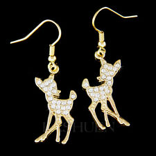 w Swarovski Crystal Bambi Fawn Deer Lover Charm Dangle Earrings Xmas Jewelry New
