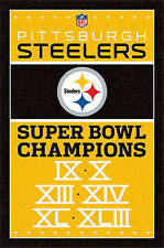 PITTSBURGH STEELERS 6-TIME SUPER BOWL CHAMPIONS Official NFL Historical POSTER