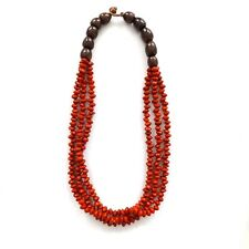THREE LOOP FIRE RED BROWN COCONUT SEED BEAD NECKLACE, TRIPLE STRINGS WITH CLASP.