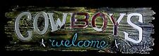"""New Mirror & Resin """"Cowboys Welcome"""" Sign, Charcoal Color  15.50""""W x 4.75""""T"""