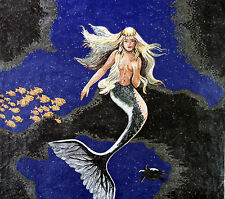 Mermaid Hair Sea Ocean Fish School Rocks Marble Mosaic FG345