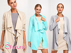 Womens Waterfall Cardigan Long Sleeve Blazer Coat Cape Jacket Size 8 10 12 FA429