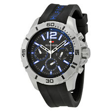 Tommy Hilfiger Multi-Function Black Dial  Black Silicone Mens Watch 1791143