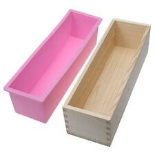 1200g Rectangle Silicone Soap Loaf Mold Wooden Box DIY Making Tools 1200G New WT