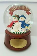 2001 Make A Wish Musical Snowman Snow Globe  Grandma and Grandpa Merry Christmas