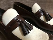 Tom Ford Brown Leather and Ivory Suede Tassel Loafer | New in Box | Size 9 T