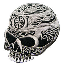 Skull Tribal Tattoo Celtic Knot Biker Embroidered Iron on Patch Free Shipping