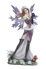 11.25 Inch Purple Winter Fairy Standing with Bead Figure Statue Figurine Fantasy