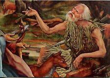 Alte Kunstpostkarte - Die Unterhaltung des Hl. Antonius mit dem Hl. Paulus