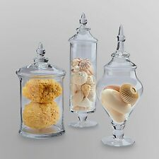 Apothecary Jar Clear Glass With Lid Candy Wedding Gift Decor Set Of 3 Jars