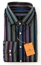 New ETRO Multicolor Striped Extrafine Cotton Dress Shirt 17.5 XL 44 NWT $395!