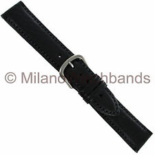 20mm Hadley Roma Black Self-Lined Genuine Leather Stitched Mens Watch Band 892