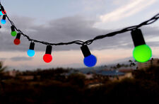 50 Indoor/Dry Outdoor Multi Color LED Globe Ball String Lights, 17FT Black Cord