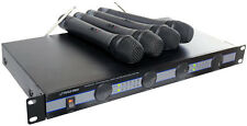 PYLE PDWM 5000 RACK MOUNT Wireless Portatile 4 Quad VHF Microfono Mic Sistema Kit