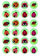 24 Ladybird Ladybug Wafer / Rice Paper Cupcake Topper Edible Fairy CakeToppers